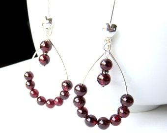 Extra Long Garnet Hoop Earrings, Hand Formed Silver Oval Gemstone Earrings, Silver Garnet  Hoops, January Birthstone Jewelry, Hand Forged