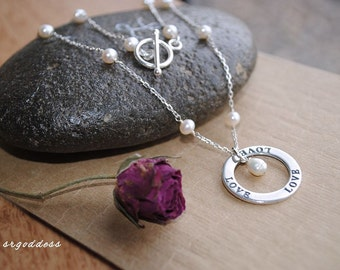 """LOVE all sterling silver and freshwater pearl 18"""" necklace by srgoddess"""