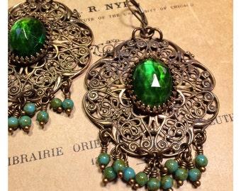 HUGE Bohemian Filigree Chandelier Earrings in Olive and Turquoise