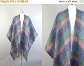 25% off sale vintage 70s 80s Multi-Color boho WOOL mohair color block PLAID shawl cape wrap - one size