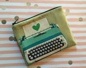 Vintage Typewriter - Clutch, Makeup Bag, Zipper Pouch