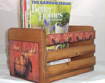 Moose Magazine Holder Wood Crate Country Lodge Decoration Home  Decor