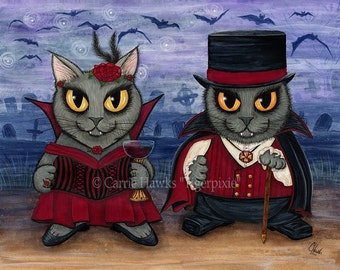 Vampire Cats Art Big Eye Cat Painting Gray Cats Whimsical Art Gothic Cat Graveyard Fantasy Cat Art Print 5x7 Cat Lovers Art