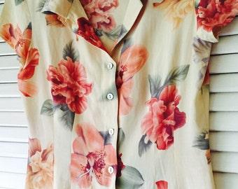 Vintage Hawaiian Orchids Print Dress