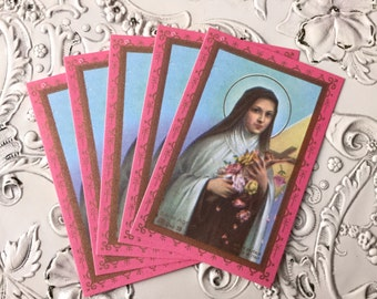 5pcs SAINT THERESE LISIEUX Vintage Prayer Cards Miniature Italy