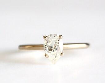 2 left - 14k gold pear moissanite engagement ring, forever one, eco friendly, handmade, limited stock, alternative diamond