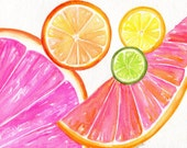 Citrus watercolor painting original, 8 x 10 Tutti Frutti Grapefruit, Lemon, Orange Lime Watercolor Painting, Citrus Artwork. Kitchen  Decor