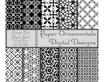 Black Digital Paper Pack, Instant Digital Download Printable Paper, Scrapbook Paper 12 x 12, Designer Paper Pattern, Black Color