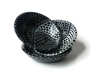 3 Black and White Doodle Design Bowls - Ring Bowl Prep Bowls