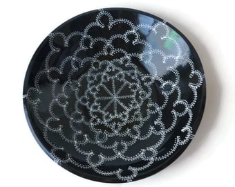 Large Serving Bowl with Doodle Design Black and White