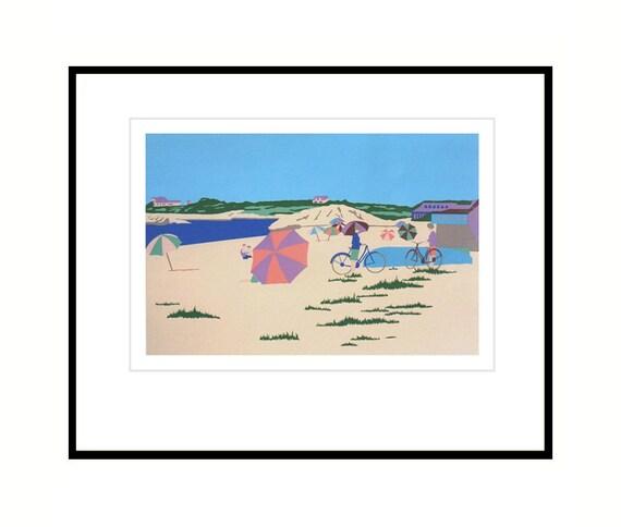 Vintage Cape Cod seascape silkscreen print, Bailey's Beach, Rhode Island shoreline screenprint, beach art, home decor wall art