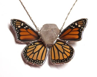 Crystal with Butterfly Wings  - Real Monarch Butterfly and Quartz Crystal Statement Necklace - One of a Kind
