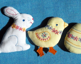 Embroidered Easter Softies PDF pattern set - INSTANT DOWNLOAD - Sweet bunny, chick & egg with simple embroidery