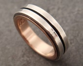 Wedding Band - Sterling Silver Modern Double Square Wire Ring - Rose Gold Lining - Handmade in Seattle
