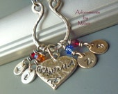 Initial Charm Sterling Silver with Birthstone Crystals