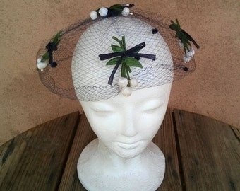 Vintage 1960s Veil Netted Hat Fascinator Lily of the Valley Bows 2016293