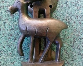 Vintage 1920s Door Knocker Brass Deer Arts and Crafts Salvaged