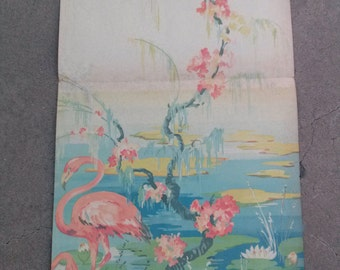 Vintage 1930s Wallpaper Flamingo Schmitz Horning Scenic Art Panel Blue Waters