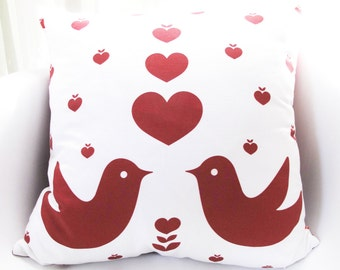 Red Print on White Love Birds 18 Inches Square Cotton Linen Pillow
