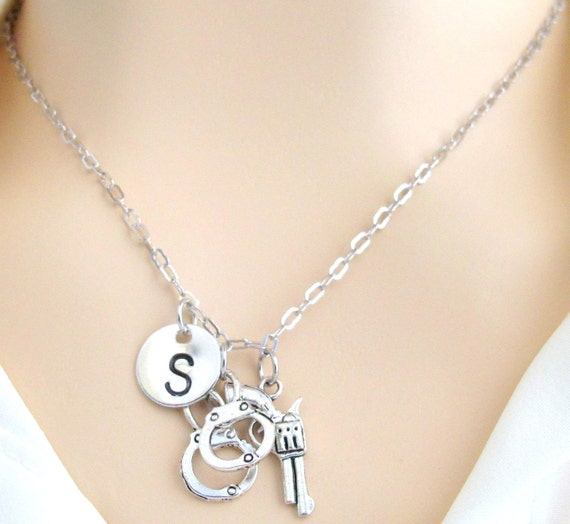 Gun Handcuff Necklace, Gun Jewellery, Crime Police Officer Wife Sisters Gift Charm Necklace Free Shipping In USA