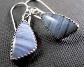 Blue Lace Agate Earrings - Dangle Earrings - Sterling Silver and Gemstone Earrings