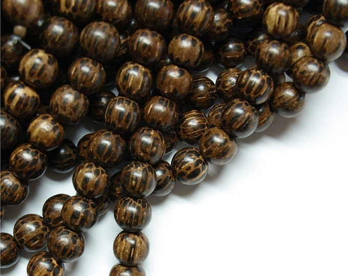Wood Bead, Round 6mm, Old Palm - 16 Inch Strand (WDRD-06PM)