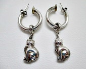Sterling Hoop Vintage Stud Pierced Earrings with Removable Cat Charms -Signed 925