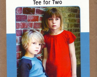 Patterns by Figgy's - TEE FOR TWO - Multi-Size Sewing Pattern - Raglan T-Shirt & Dress - Sizes 12 Months to 6/7