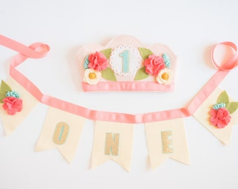 PARTY PACK Crown & Bunting // Smash Cake // Photo Prop // Baby Girl Birthday // Flower Crown // Birthday Crown