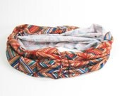 Turban Headband - Geographic Orange and Blue Weave