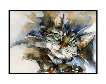 Watercolor Green-Eyed Tiger Cat Notecards Note Cards, Tiger Cat Print, Tiger Cat Art, Boxed Set of 6 or 8 Cards, Cat Lover, Stocking Stuffer