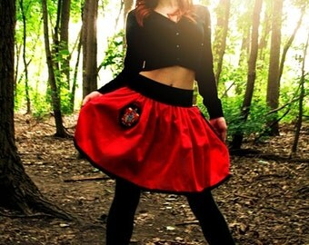 GRYFFINDOR Mini Skirt - Black Elastic Waist with Patch and Wand Pocket - SMALL