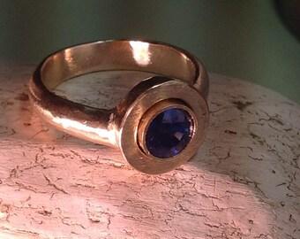 Gold ring sapphire - Patina