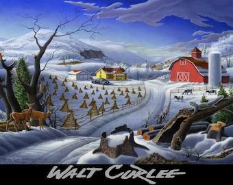 Christmas Country Farm Art Landscape, Rural Winter FolkArt Rustic Mountain Deer Giclee Print, Appalachia Amish Americana, Folk Art