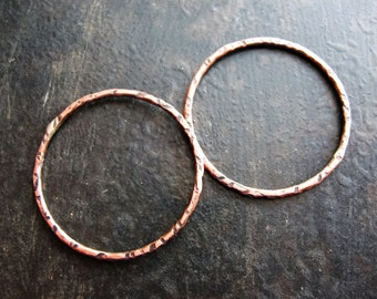 27mm Hammered Antiqued Copper Circle Links - 1 pair