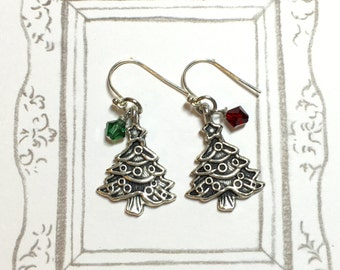 Christmas Tree Red and Green Swarovski Crystal Earrings, Christmas Tree Earrings, Christmas Earrings, Christmas Jewelry, Christmas Gift
