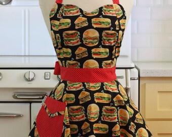 Retro Apron Burgers and Sandwiches on Black - BELLA