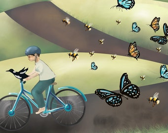 Bike Print for Kids - Boy on a Bicycle with his Bird, with Bees and Butterflies - Alphabet Art B - A3 fine art print
