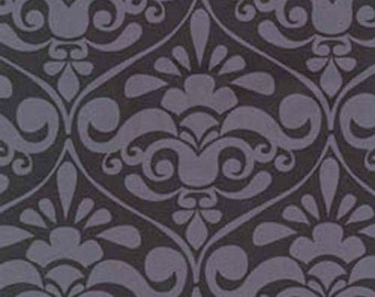 ON SALE - 10% Off REMNANT Piece - Michael Miller Divine Damask Gray Black Quilting Apparel Fabric
