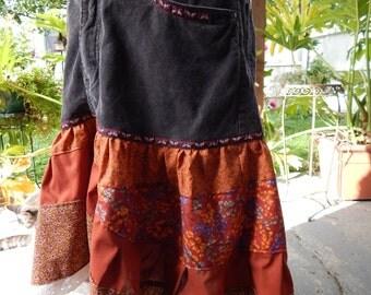 Upcycled Skirt, Corduroy Pant top Skirt,  High Low Skirt, Earthy Butterflies, Hippie Skirt, Festival skirt, OOAK SKirt, Tiered Skirt
