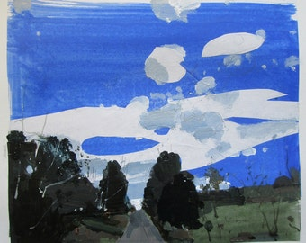 Windy Line, Original Autumn Landscape Collage Painting on Paper, Stooshinoff