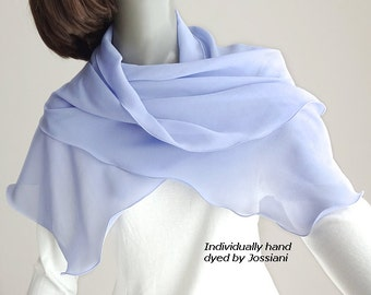 Periwinkle Silk Scarf Hydrangea Sheer Chiffon Coverup, Light Iris Blue Chiffon 10mm Stole, Something Blue Bridal, One of a Kind, Jossiani.