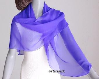Purple Square Scarf, Large Purple Wrap, Sheer Coverup, Ivory Chiffon Scarf, Purple Coverup, Silk Chiffon Forma, Special Occasion, Artinsilk.