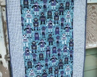 40% FLASH SALE- Robot Baby Quilt-Robots-For the Boys