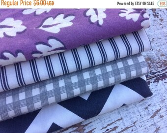 40% OFF FLASH SALE- Fat Quarter Bundle- Black and Purple Fabric -Reclaimed Bed Linen fabric-