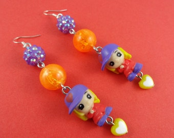 Kawaii Girl Earrings - cute little girls with baseball caps, shambala beads, sparkly disco beads, Harajuku Decora, purple orange yellow, fun