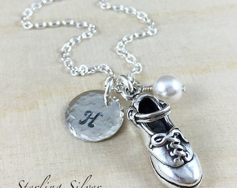 Personalized Necklace - Irish Dance Hard Shoe Charm Necklace - Sterling Silver Jewelry With Hand Stamped Initial And Birthstone