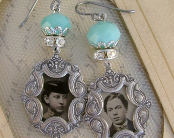 Courtship- Antique 1870s Tintype Photographs, Antique Silver Frames, Rhinestones, Turquoise Recycled Repurposed Jewelry Assemblage Earrings