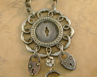 Locked Out - Vintage Silvertone Hardware Rhinestones Small Locks Recycled Repurposed Jewelry Assemblage Necklace