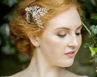 Nature Inspired Leaf & Pearl Hair Clip, LAUREL SILVER MINI